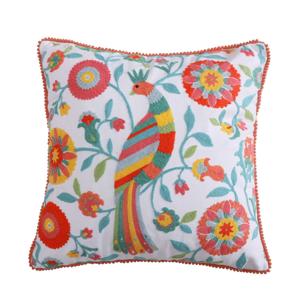 Laurel Coral Crewel Poms Multi Bird Pillow