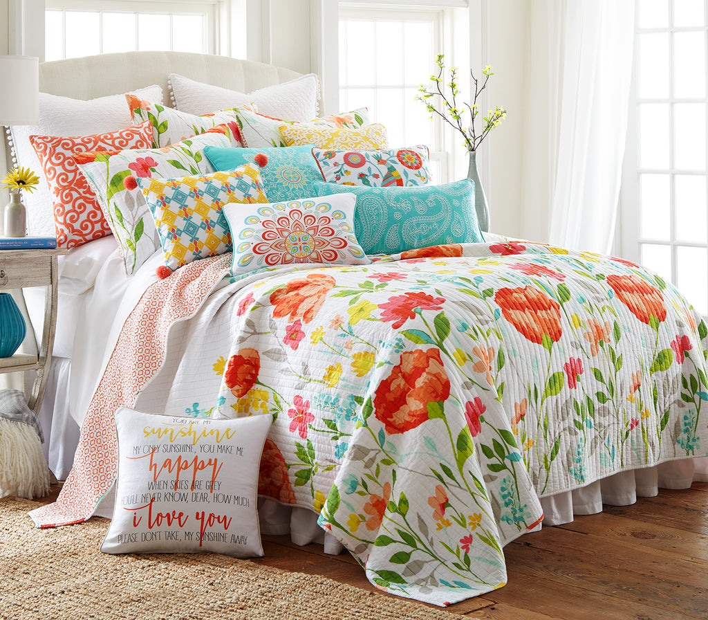 Laurel Coral Quilt Set