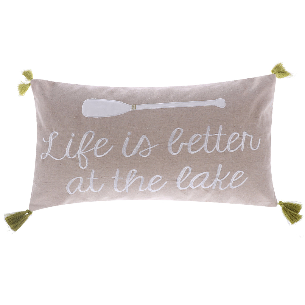 Life is Better Lake withTassels Pillow