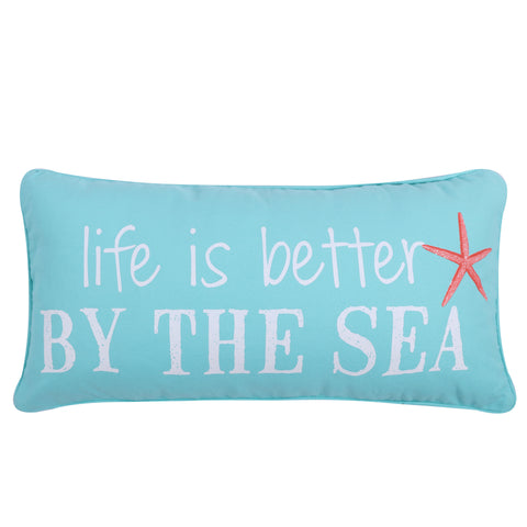 Teal Life is Better by the Sea Pillow