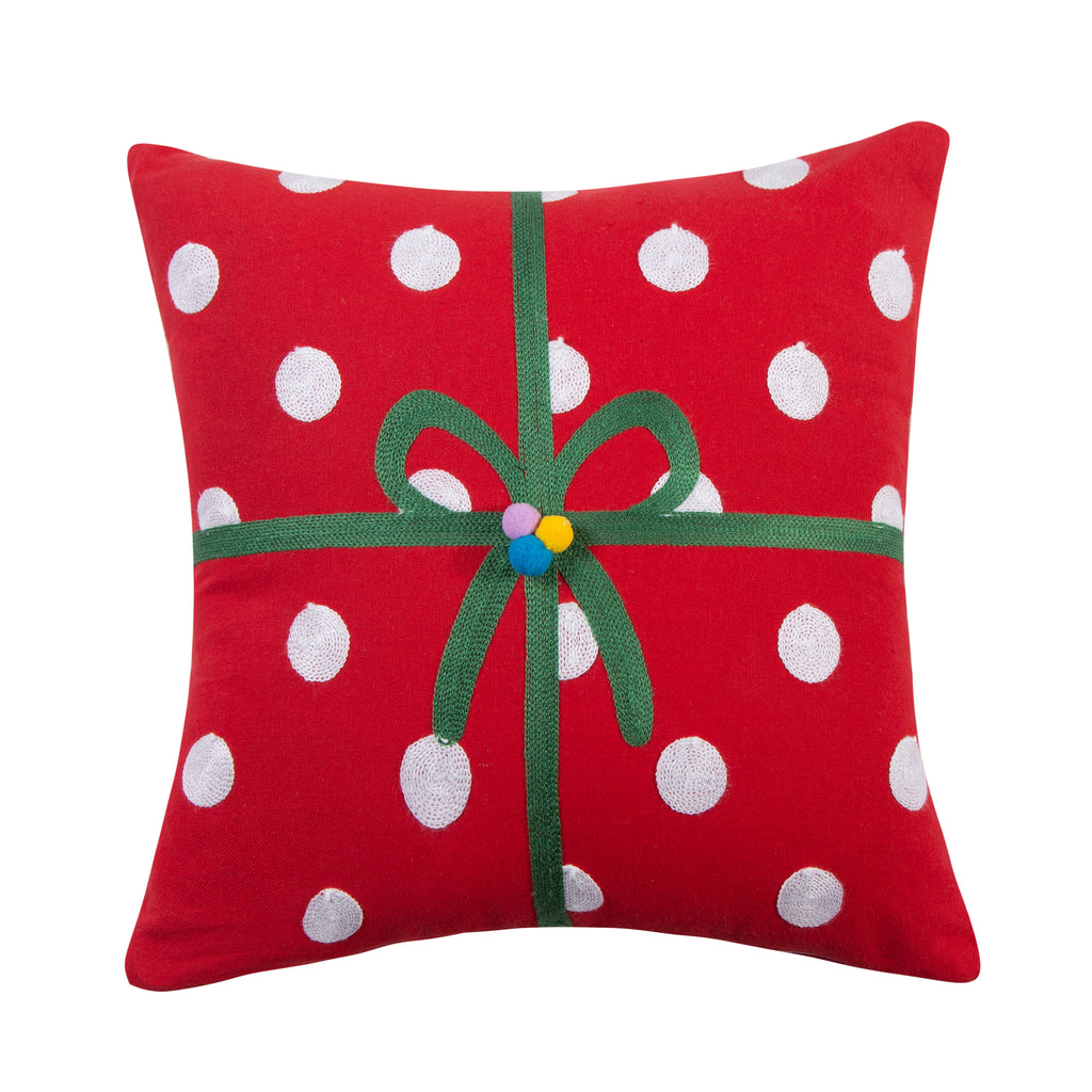 Merry & Bright Holly 3D Present Pillow