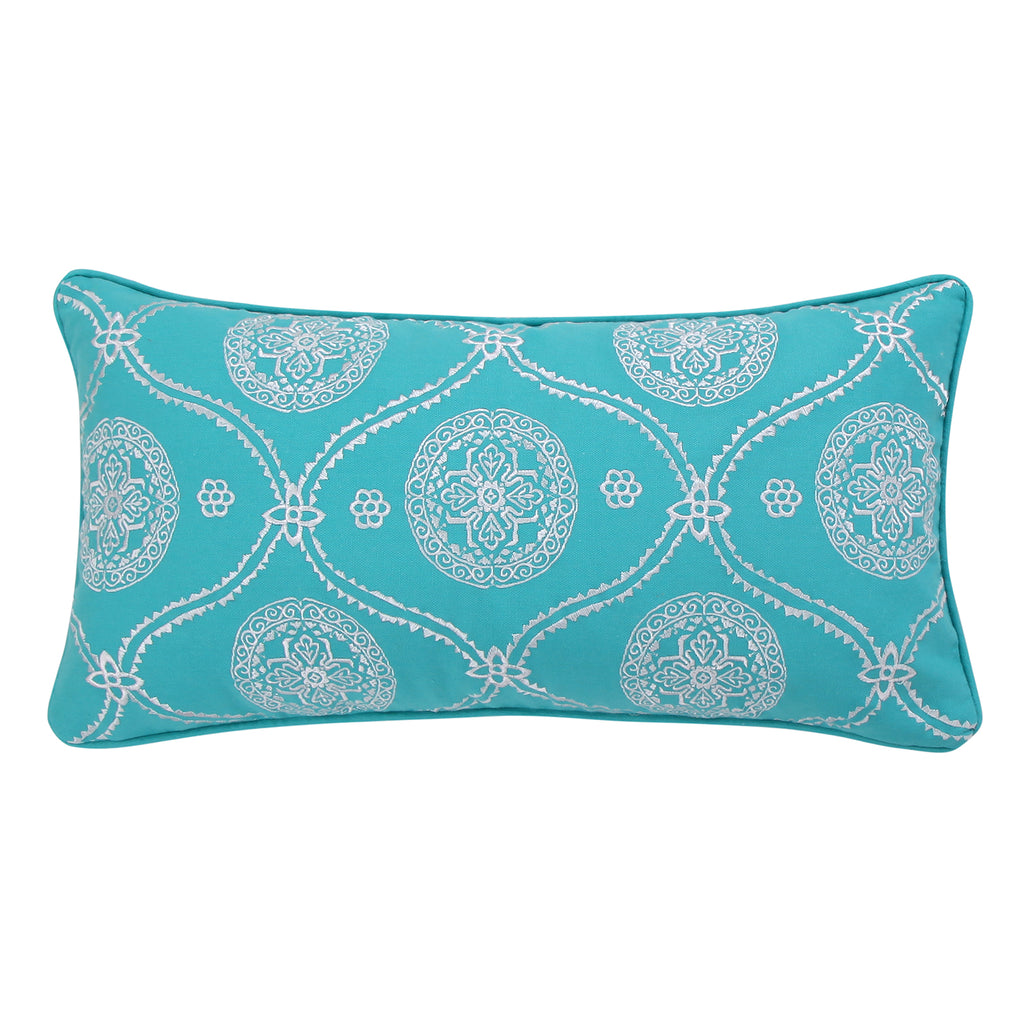 Mackenzie Teal Embroidered Pillow