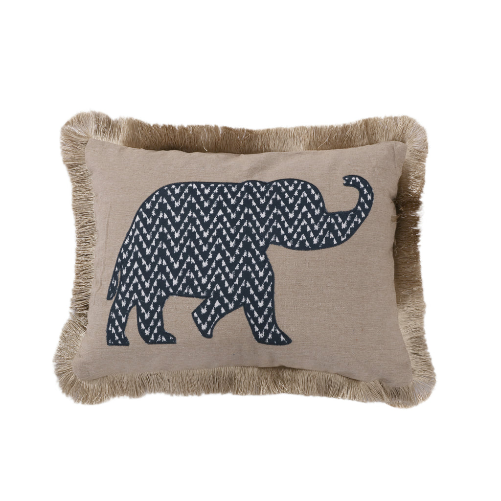 Mala Elephant Fringe Pillow
