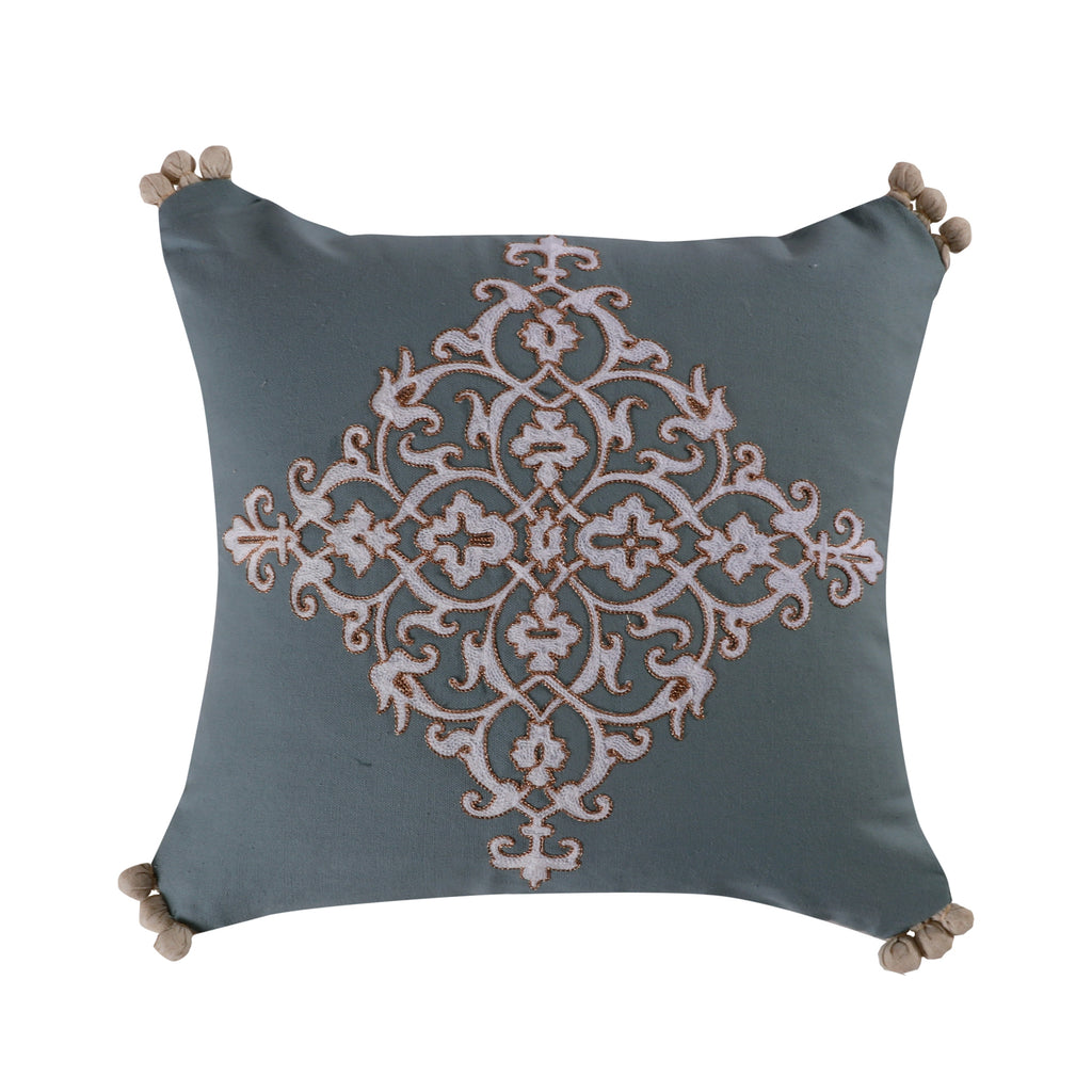 Marisol Embroidered Crewel Pompom Pillow