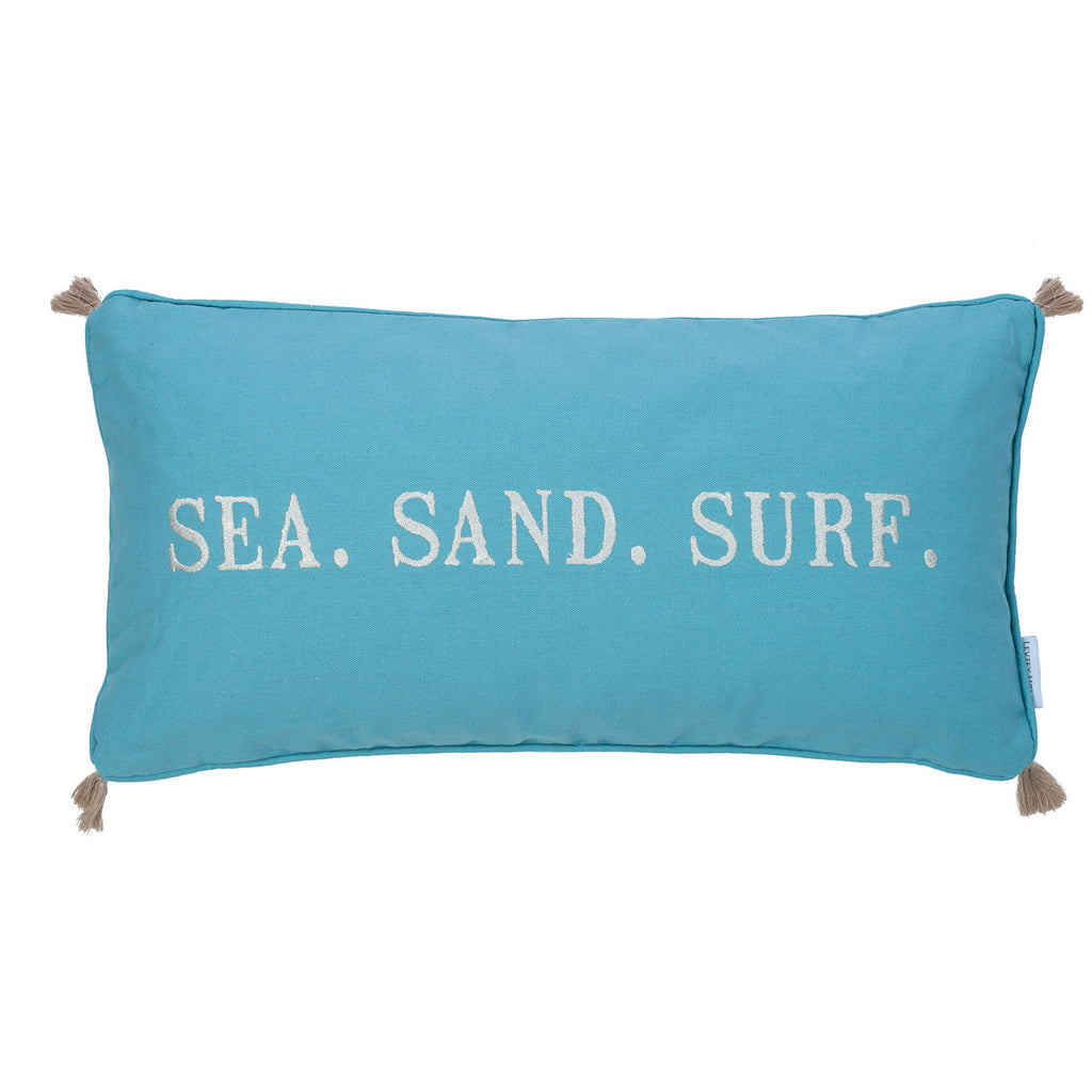 Blue Maui Embroidered Words/Tassels Pillow