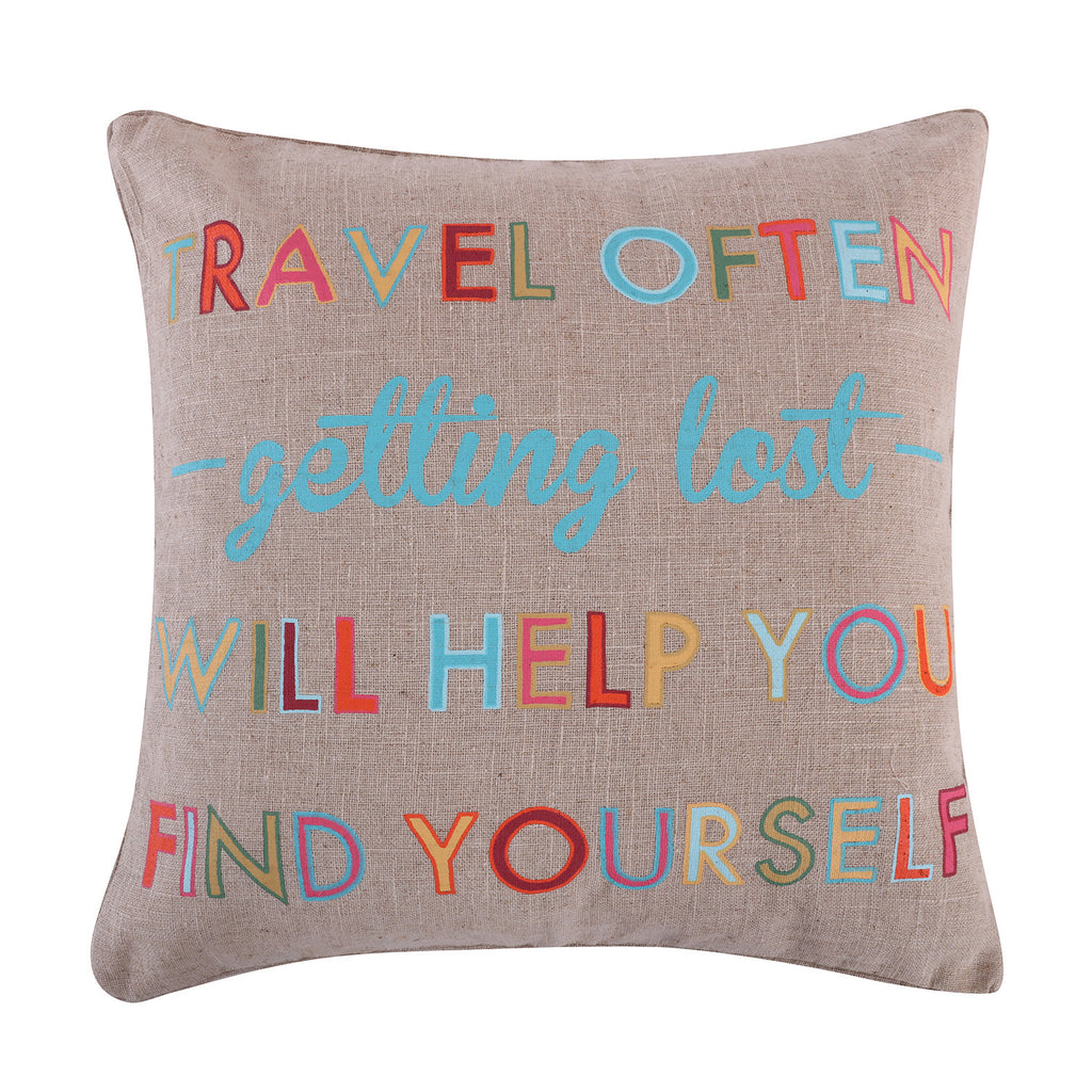 Mayla Travel Often Burlap Pillow