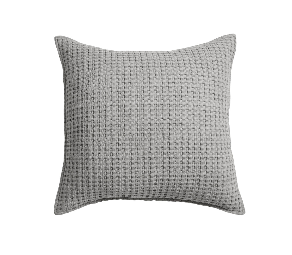 Mills Waffle Grey Square Pillow