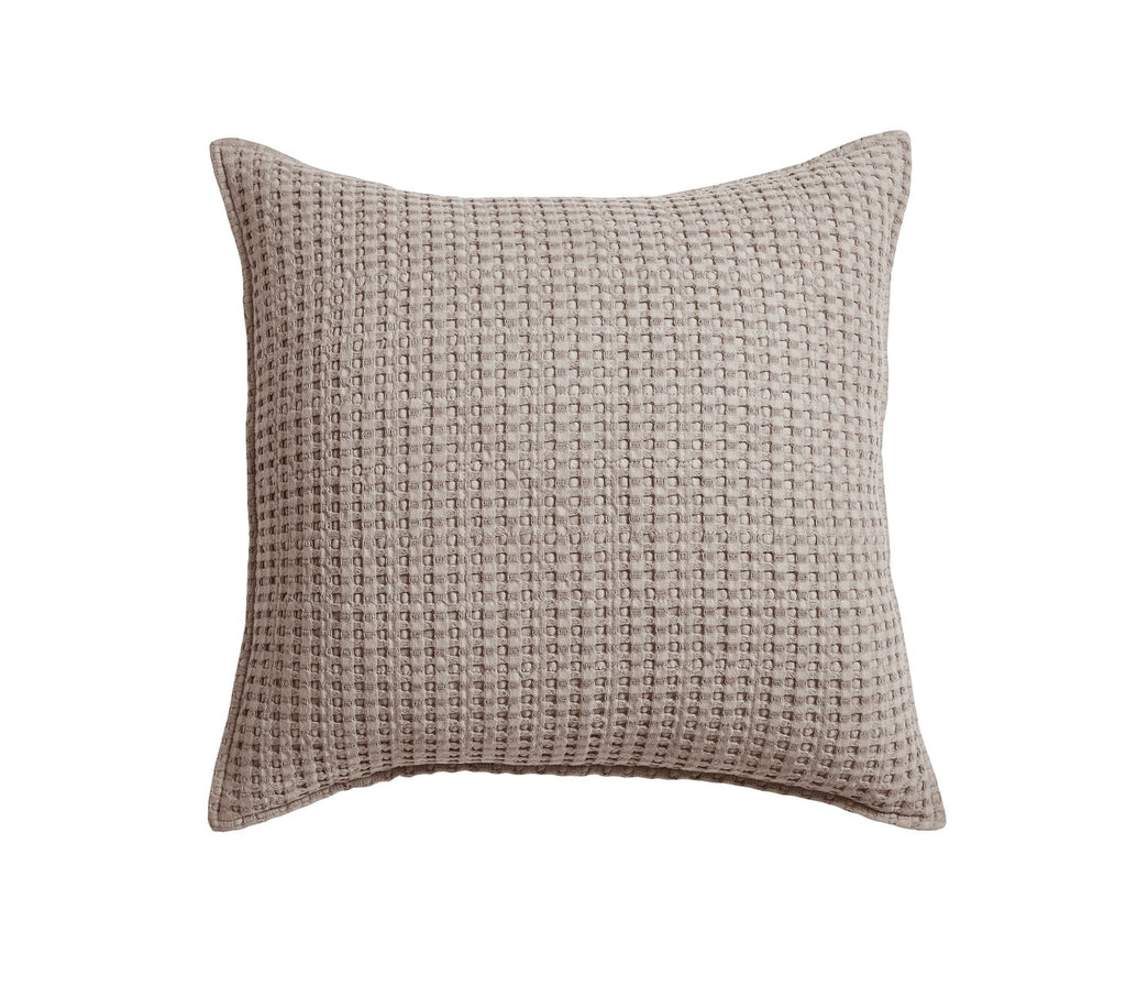 Mills Waffle Taupe Square Pillow
