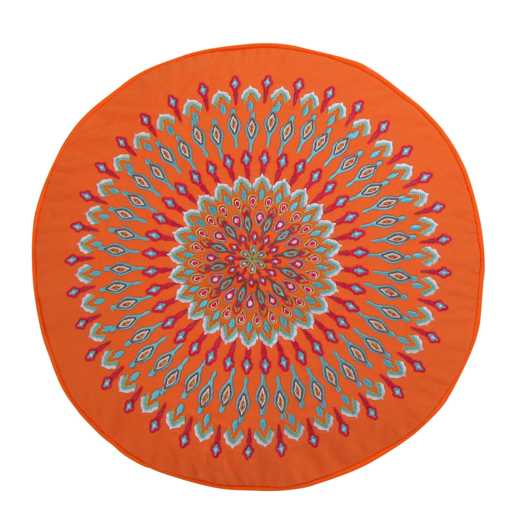 Mirage Peacock Round Pillow