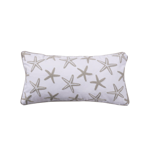 Nantucket Grey and White Crewel Stitch Starfish Pillow