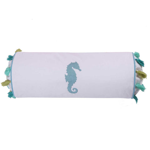 Ocean Springs Embroidered Seahorse Tassel Neck Roll