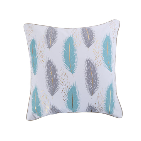 Spa Pintuck Teal Gray Feathers Pillow