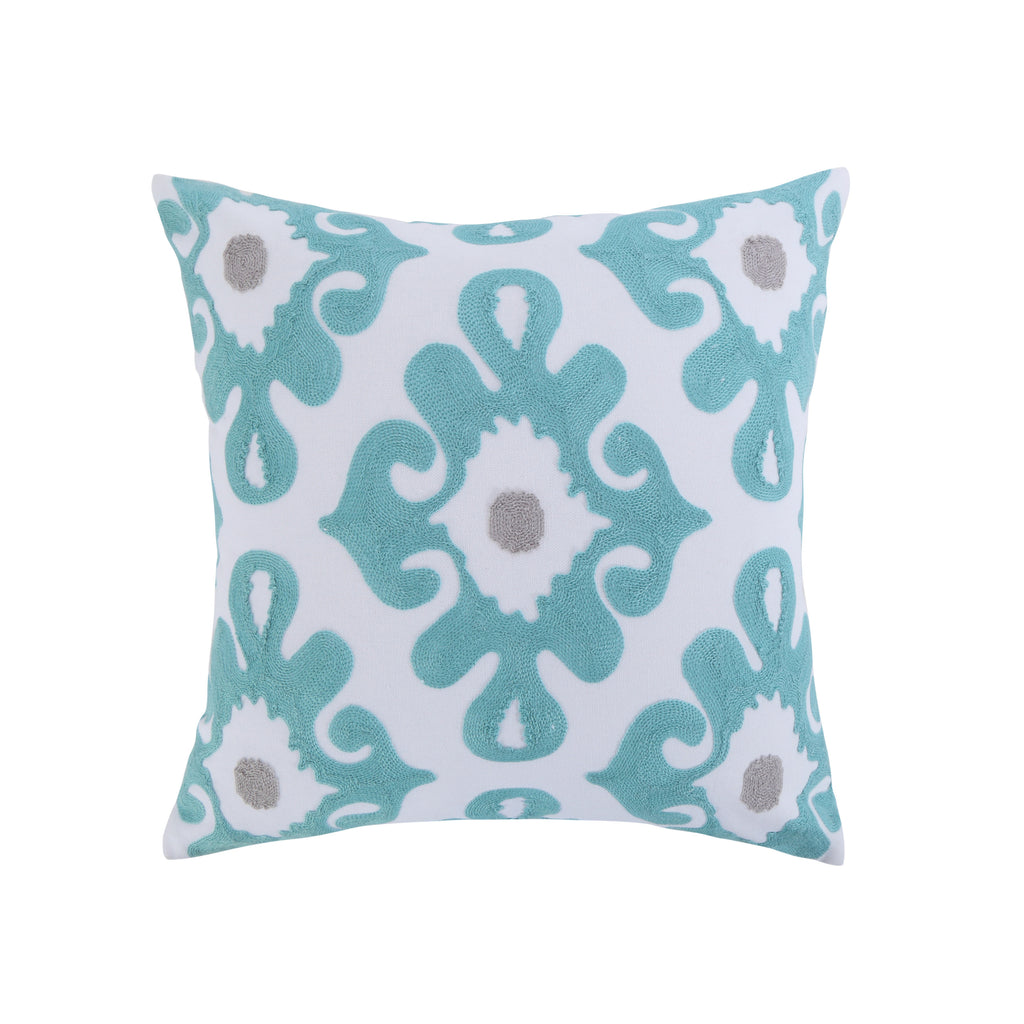 Spa Pintuck EmbroideredTeal Grey Pillow