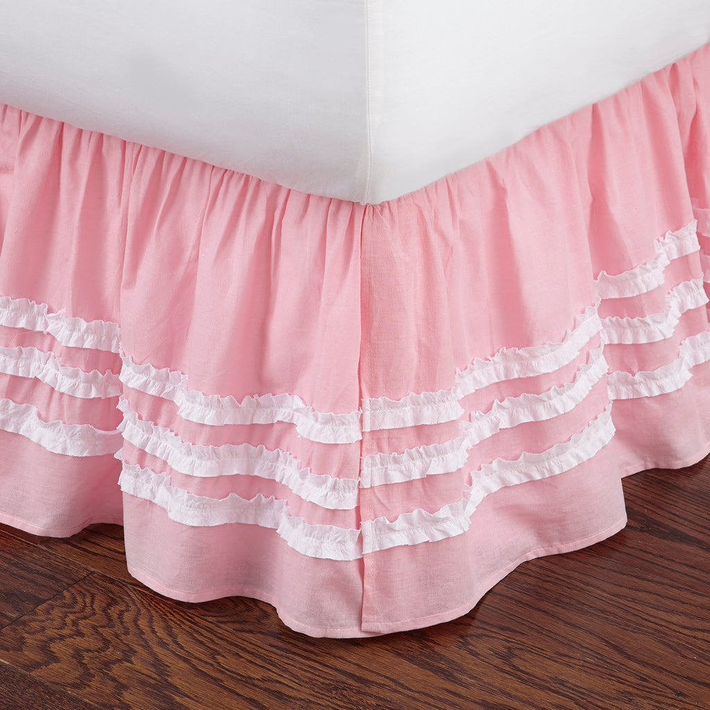 Pink Ruched Dust Ruffle