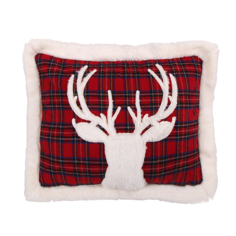 Plaid Fur Deer on Red Pillow