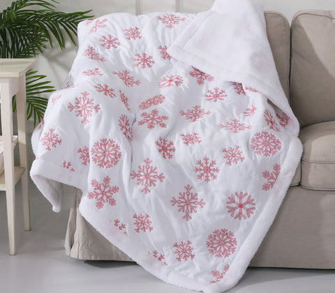 Red Snowflake Sherpa Throw