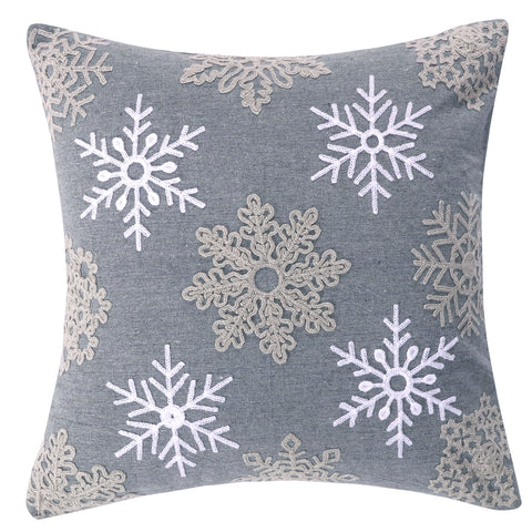 Rudolph Snowflake Grey Pillow