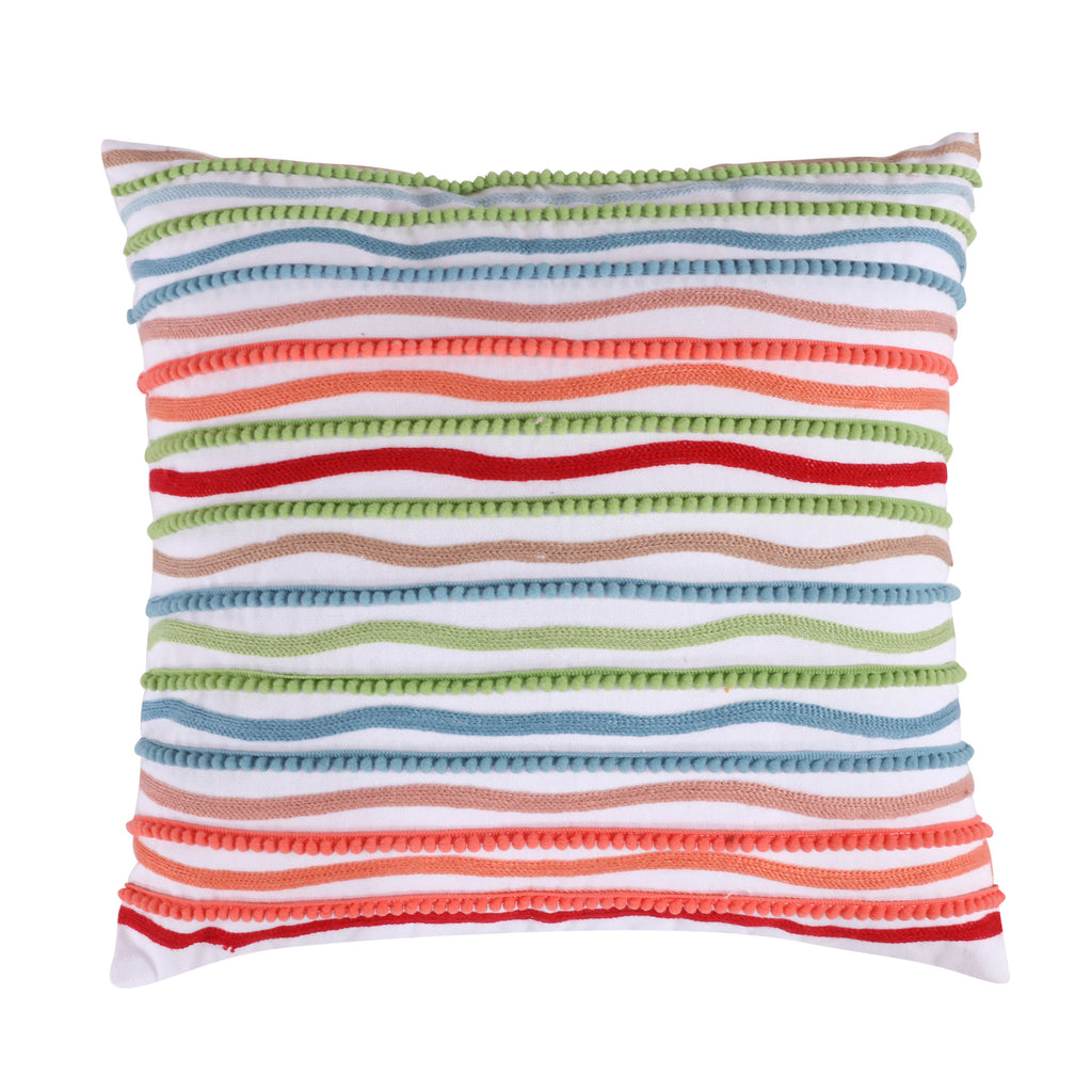 Simone Floral Multi Crewel Pom Pillow