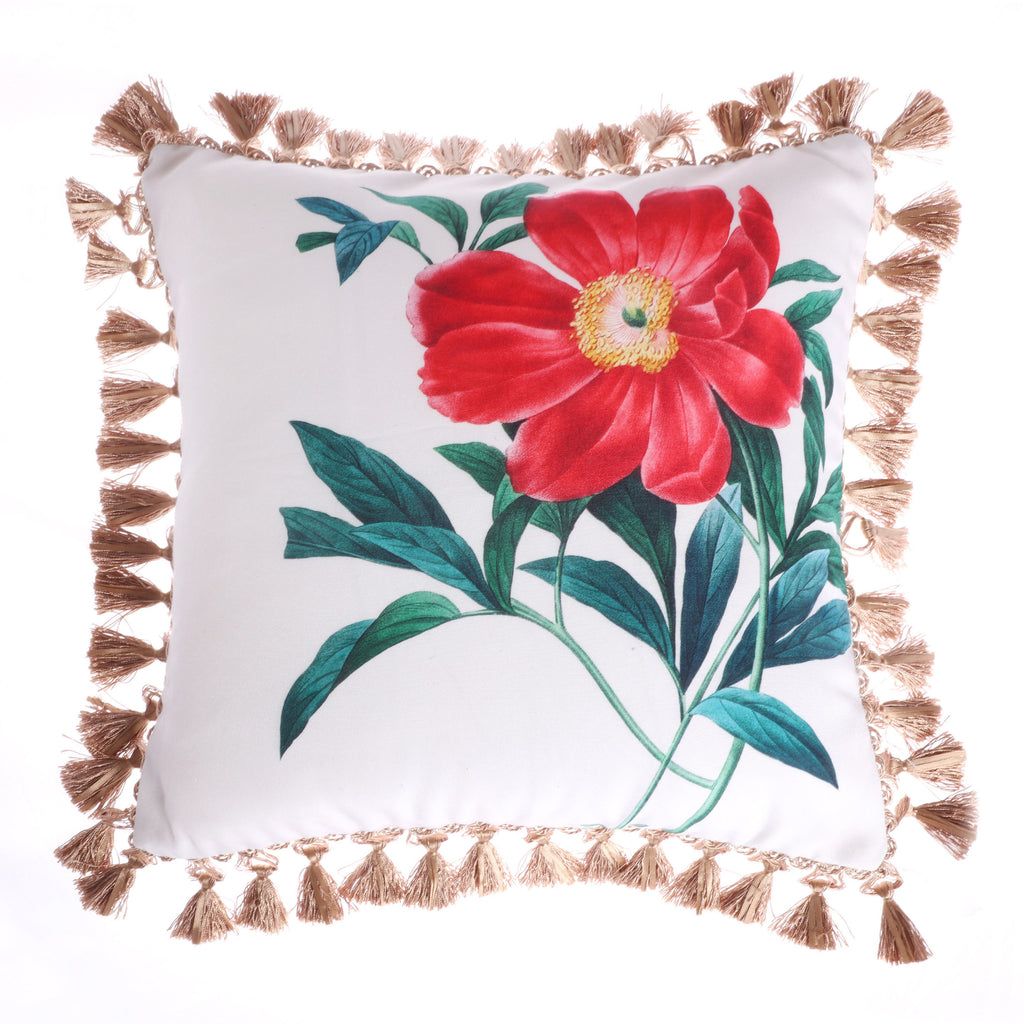 Simone Floral Rose Tassel Pillow