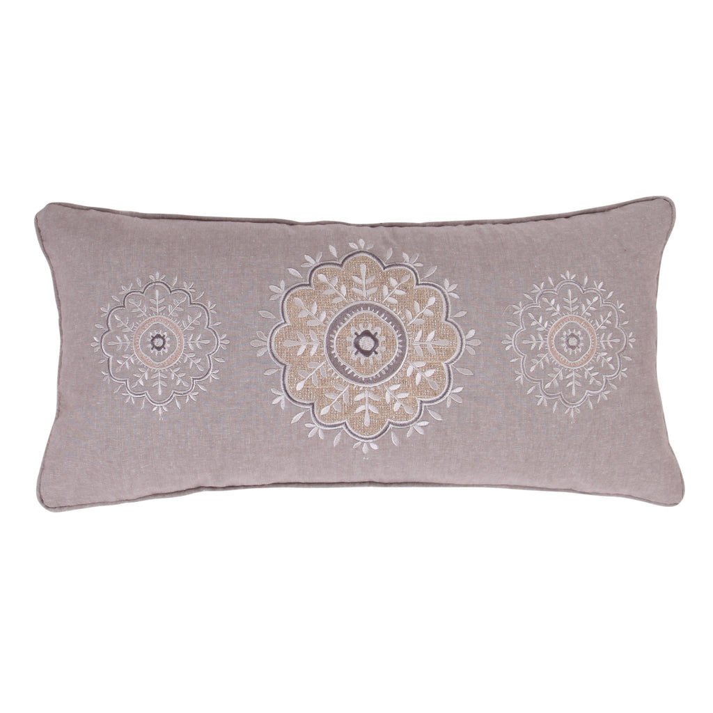 Solano Sparkle Burlap Embroidered Pillow