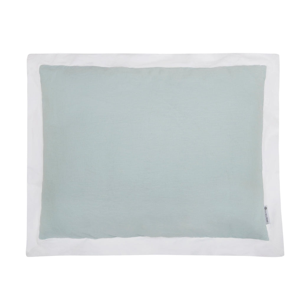 Washed Linen Spa W White Flange King Sham
