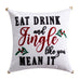 Thatch Home Buffalo Peak Plaid Eat Drink Jingle Pillow