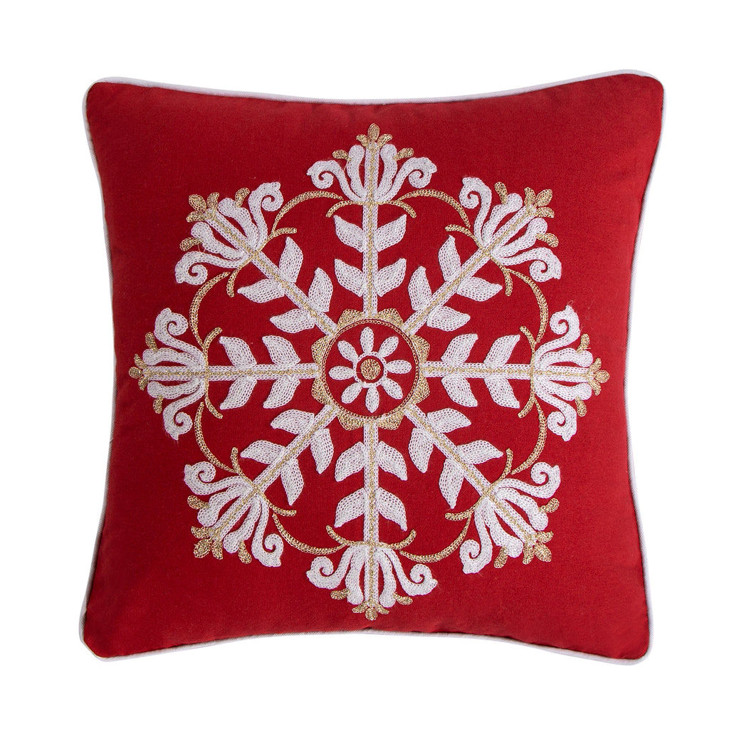 Thatch Home Joy Birds Snowflake Pillow
