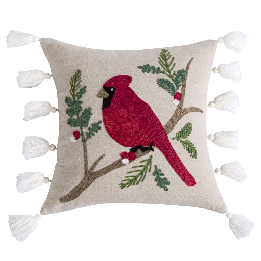 Thatch Home Joy Birds Cardinal Embroidered Tassel Pillow