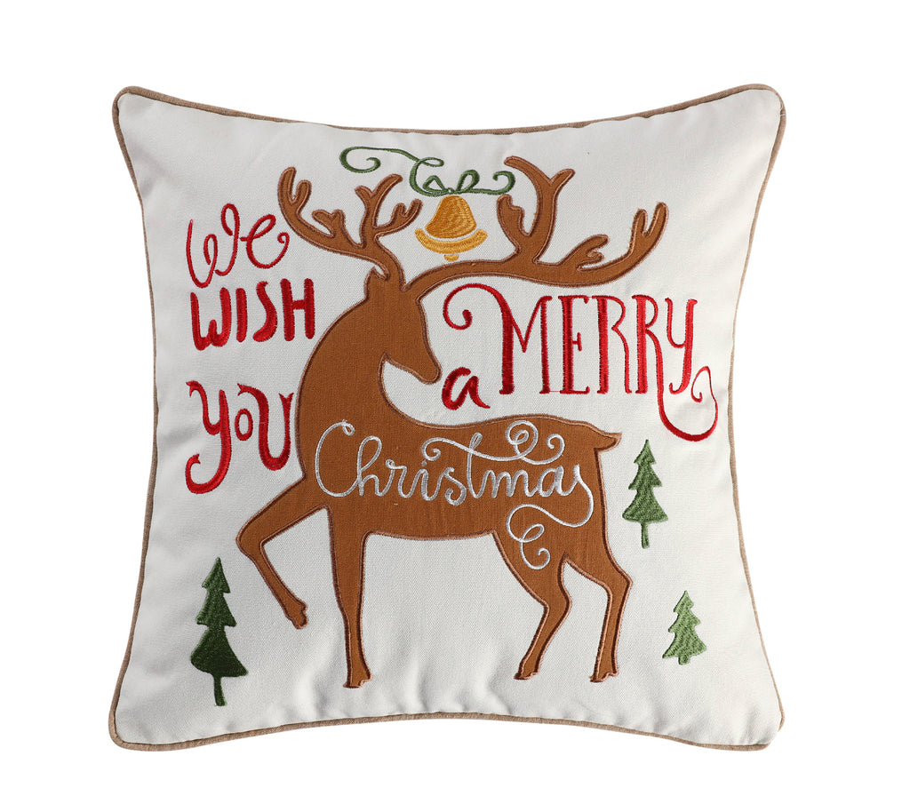 Tinsel Embroidered Merry Deer Pillow