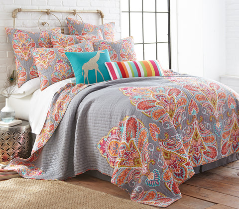 Tivoli Grey Quilt Set