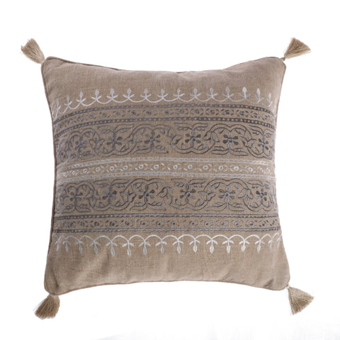 Trevino Embroidered Burlap Pillow