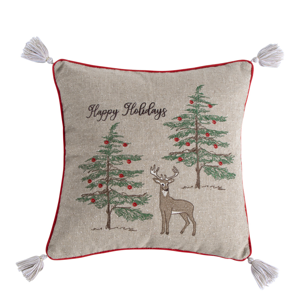 Villa Lugano Sleigh Bells Happy Holidays Pillow 18x18""