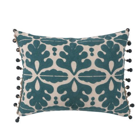 Vista Navy Crewel Stitch Linen Beaded Trim Pillow