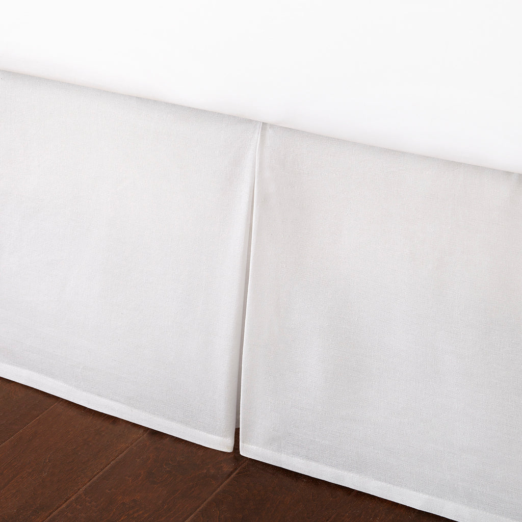 Dust Ruffle Box Pleated - White