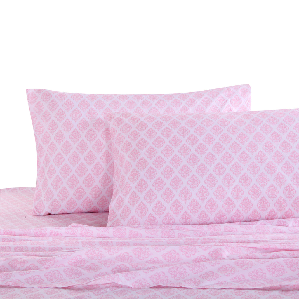 Pink Damask Sheet Set