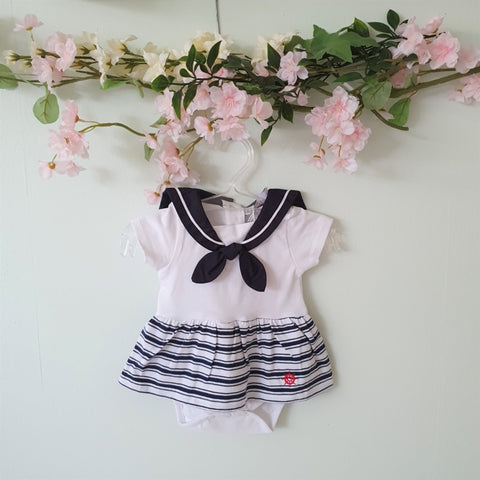 Patachou White & Blue Striped Romper