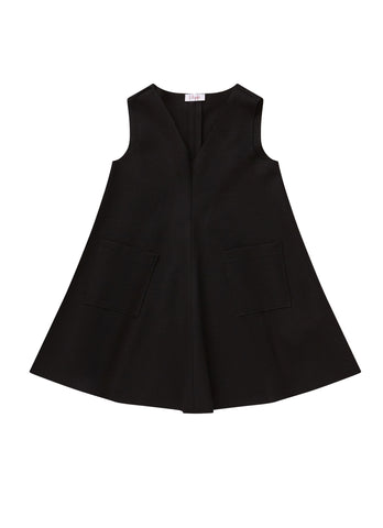 Il Gufo Black Pinafore Dress