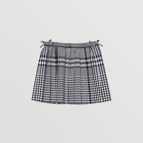 Burberry Check Cotton Poplin Pleated Skirt