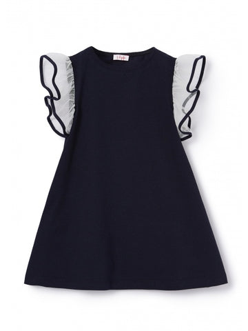Il Gufo Navy Blue Jersey Dress
