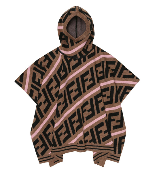 Fendi Allover Print Hooded Poncho