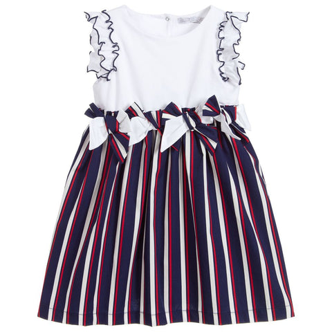 Patachou Navy Blue & White Cotton Dress