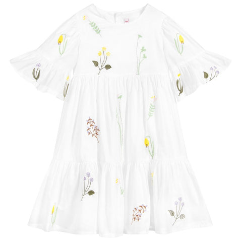Il Gufo White Floral Cotton Dress