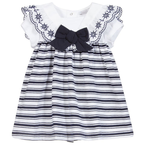 Patachou White & Blue Stripe Baby Dress
