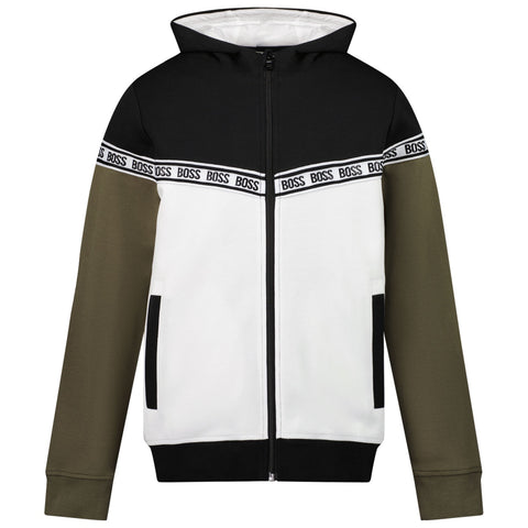 BOSS Zip-up Color Block Hoodie