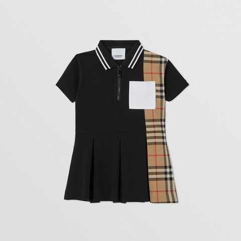 Vintage Baby Check Cotton Piqué Polo Shirt Dress