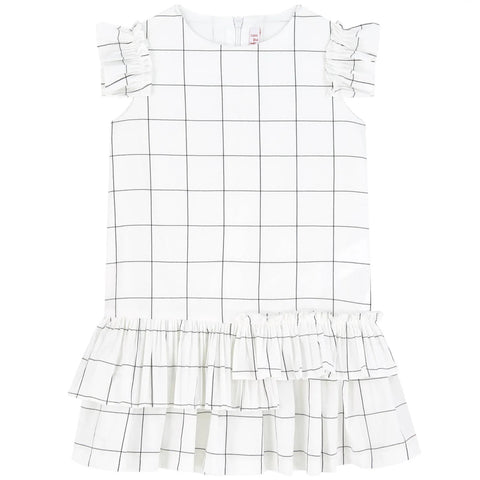 Il Gufo Black Checked percale dress