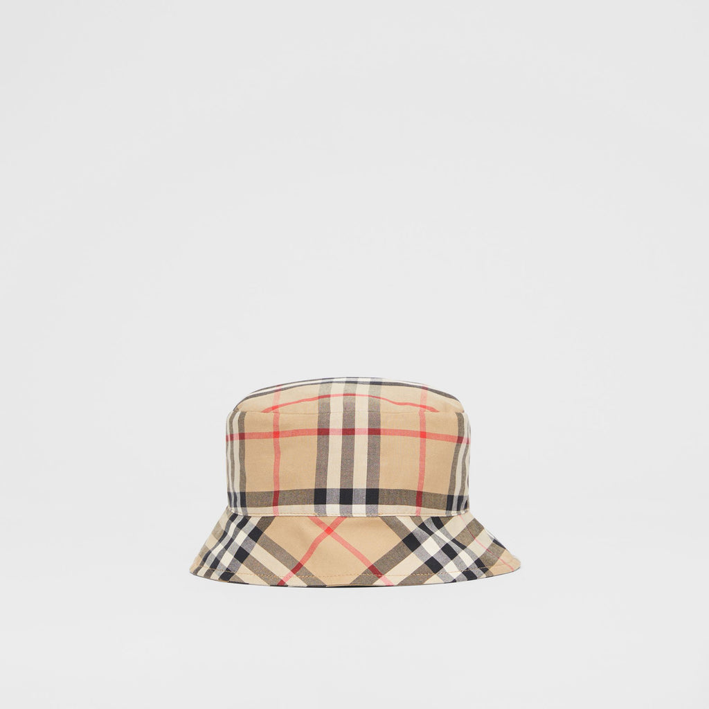 Burberry Reversible Baby Vintage Check and Icon Stripe Bucket Hat