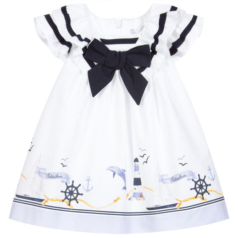 Patachou White & Blue Cotton Dress