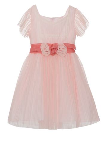 Patachou Pink Tulle Chiffon Dress