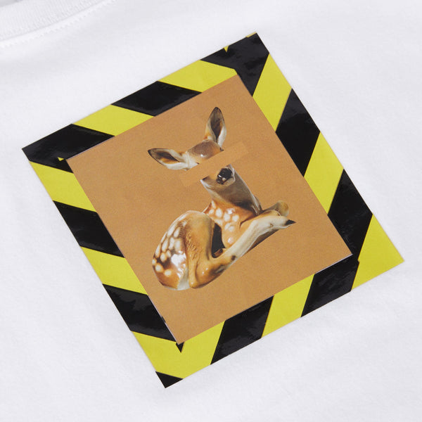 Burberry White Deer Print Cotton T-shirt
